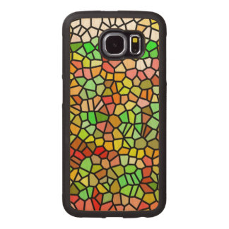 Abstract colorful stained glass wood phone case