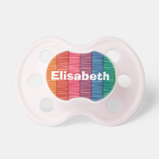 Abstract colorful stripes pattern name baby pacifier