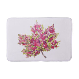 Abstract Colorful Watercolor Autumn Leaf Pattern Bath Mat
