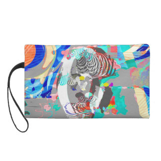 Abstract colorful zebra graphic-Bag Wristlet Clutch