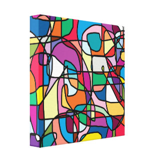 Abstract Colors Doodle Wrapped Canvas