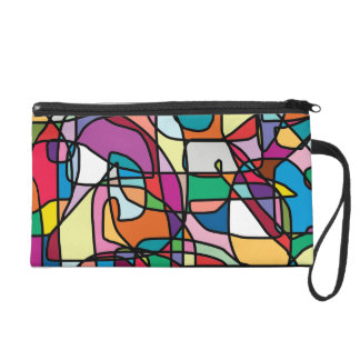 Abstract Colors Doodle Wristlet