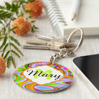 Abstract Colors Monogram Keychain