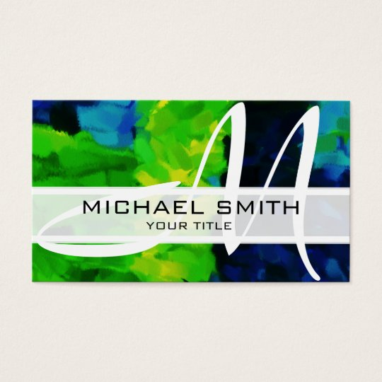 Abstract Coloured Modern Monogram #35 Business Card