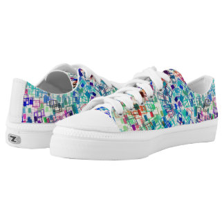 Abstract Coloured Rectangle Arrangement Low Tops
