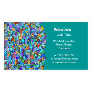 Abstract Colourful Blue Mosaic Pattern Business Card