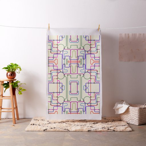 Abstract Colourful Geometric Lines Random Pattern Fabric