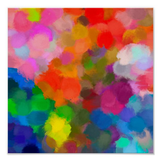 Abstract colourful paint brushstrokes poster