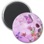 Abstract Colourful Pink Purple Cute Butterfly 6 Cm Round Magnet