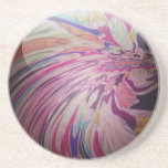Abstract, colourful swirl and stripe shiny marble coaster