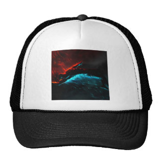 Abstract Colours Red Blue Visions Mesh Hat