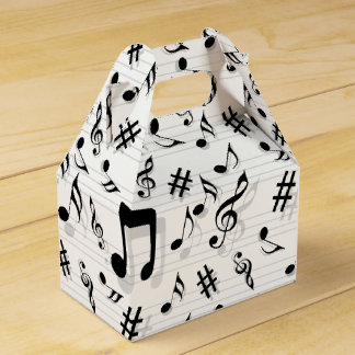Abstract Composer Musical Notes Pattern Favour Box
