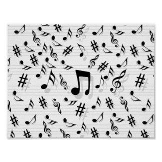 Abstract Composer Musical Notes Pattern Poster