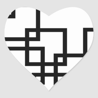 Abstract composition with squares heart sticker