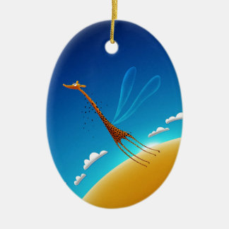 Abstract Cool Big Giraffe Ceramic Oval Decoration