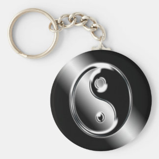 Abstract Cool Chrome Ying Yang Key Chain