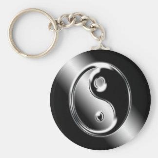 Abstract Cool Chrome Ying Yang Key Chain