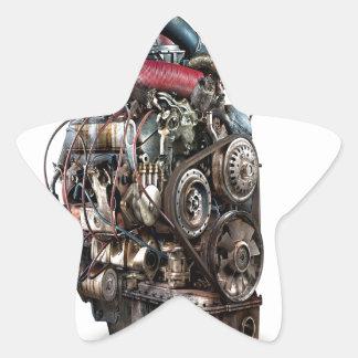 Abstract Cool Engine Heart Machine Star Sticker