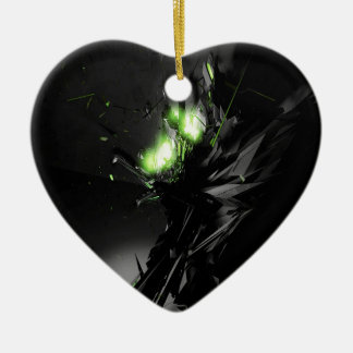Abstract Cool Explosive Green Fire Ceramic Heart Decoration