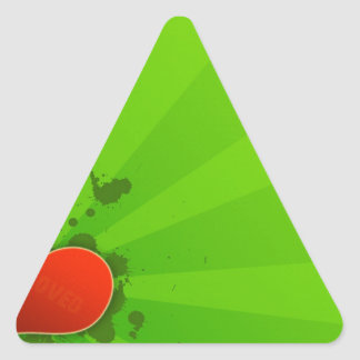 Abstract Cool Green And Simple Heart Triangle Sticker