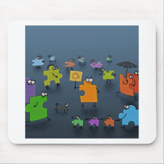 Abstract Cool Jigsaw Crowd Mousepads