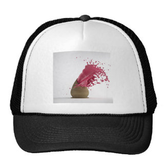 Abstract Cool Painting Red Mesh Hats