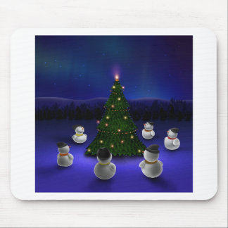 Abstract Cool Snowmen Gathering Mouse Pads