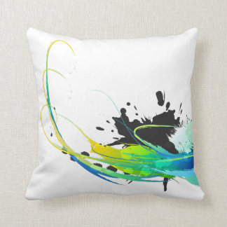 Abstract cool waters Paint Splatters Cushion