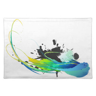 Abstract cool waters Paint Splatters Placemat