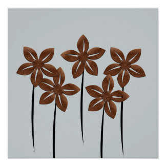 Abstract Copper Flowers Poster