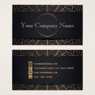 Abstract Copper Leaves - Charcoal Business Card