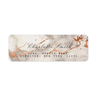 Abstract Copper Rose Marble Return Address Labels