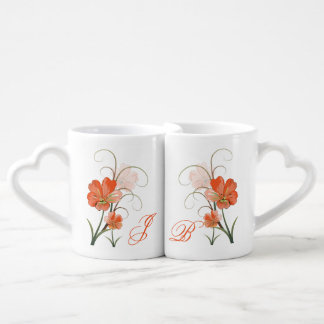 Abstract Coral Lime Flowers Lovers Mug