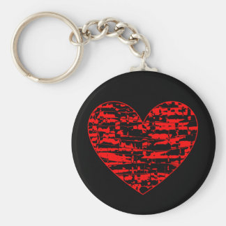 Abstract Crackle Heart Keychains