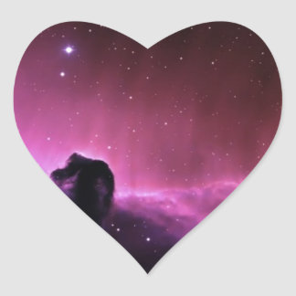 Abstract Crazy Purple Space View Heart Stickers