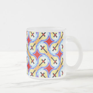 Abstract Cross Black Red Yellow Blue Color Pattern Frosted Glass Mug
