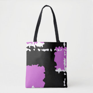 abstract crystallize design black purple and white tote bag