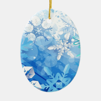 Abstract Crystals Blue Ice Ceramic Oval Decoration