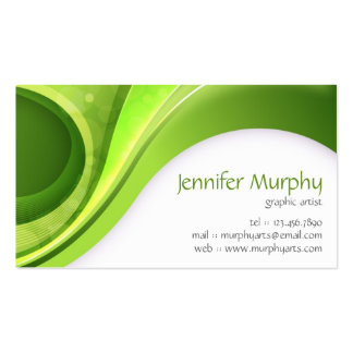 Abstract Curves - Green Business Card Template
