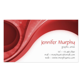 Abstract Curves - Red Business Cards