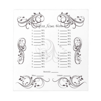 Abstract Cute Bunco Card/Sheet Notepad