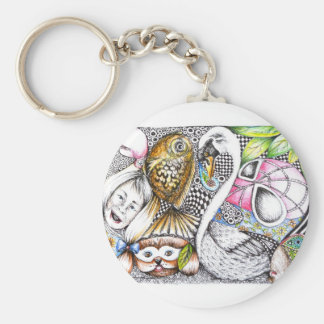 abstract cycle of life basic round button key ring