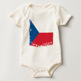 Abstract Czech Republic Flag, Czech Colors Cloth Baby Bodysuit
