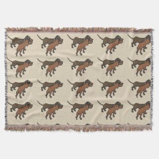 Abstract Dachshund in Brown Throw Blanket