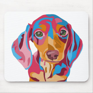 Abstract Dachshund on White Background Mouse Mat
