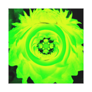 Abstract Dahlia Green,Yellow Stretched Canvas Print