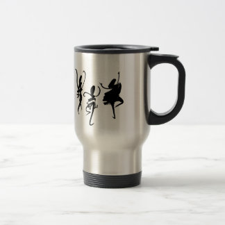 Abstract dancers in black and white coffee mugs
