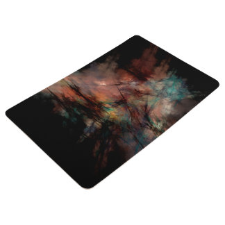 Abstract Dark Black And Blue Pattern Floor Mat