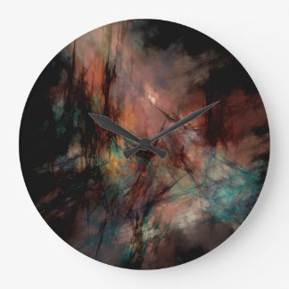 Abstract Dark Black And Blue Pattern Large Clock
