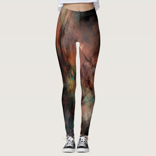 Abstract Dark Black And Blue Pattern Leggings